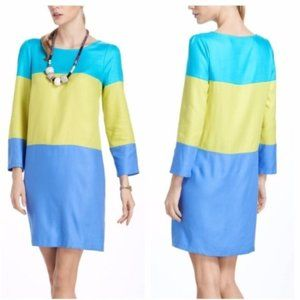 Maeve Dress Blue Green Colorblock Rayon Sleeves